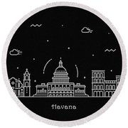 Havana Skyline Travel Poster Round Beach Towel
