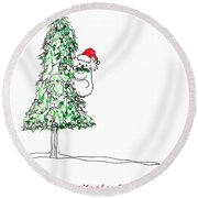 Having A Koala Christmas Round Beach Towel