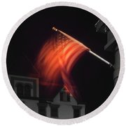 Round Beach Towel featuring the photograph Waving Flag In Easton by Mike McGlothlen