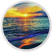Hawaii Beach Sunset 149 Round Beach Towel