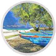 Hawaii Boats Round Beach Towel