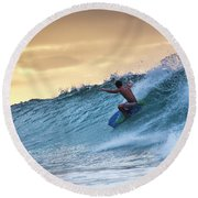 Hawaii Bodysurfing Sunset Polihali Beach Kauai  Round Beach Towel