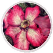 Round Beach Towel featuring the digital art Hawaii Flower by Darren Cannell