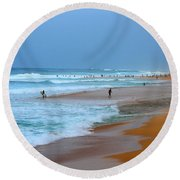 Hawaii - Sunset Beach Round Beach Towel by Michael Rucker