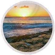 Hawaii Sunset Round Beach Towel