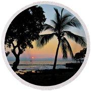Hawaiian Big Island Sunset  Kailua Kona  Big Island  Hawaii Round Beach Towel