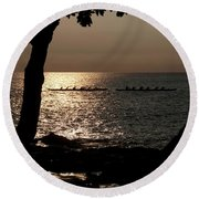 Hawaiian Dugout Canoe Race At Sunset Round Beach Towel