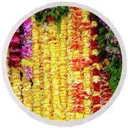 Hawaiian Flower Lei's Round Beach Towel