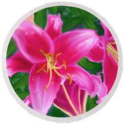 Hawaiian Flowers Round Beach Towel