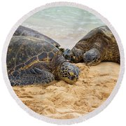 Hawaiian Green Sea Turtles 1 - Oahu Hawaii Round Beach Towel