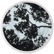 Hawaiian Hawk Silhouette  Round Beach Towel