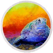 Hawaiian Honu 4 Round Beach Towel by Marionette Taboniar