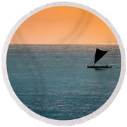 Hawaiian Outrigger Canoe Round Beach Towel