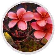 Hawaiian Pink Plumeria And Amakihi Bird Round Beach Towel
