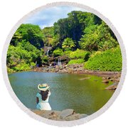 Round Beach Towel featuring the photograph Hawaiian Sacred Pools by Michael Rucker