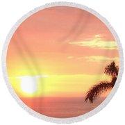 Hawaiian Sunset Round Beach Towel by Karen Nicholson