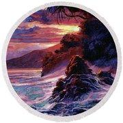 Hawaiian Sunset - Kauai Round Beach Towel