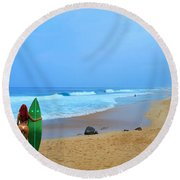 Hawaiian Surfer Girl Round Beach Towel by Michael Rucker