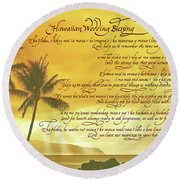 Hawaiian Wedding Blessing-sunset Round Beach Towel