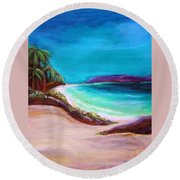 Round Beach Towel featuring the painting Hawaiin Blue by Patricia Piffath