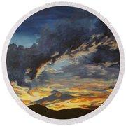 Round Beach Towel featuring the painting Hawcreek 7.11 by Stuart Engel