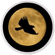 Round Beach Towel featuring the mixed media Hawk Flying By Full Moon by Shane Bechler