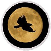 Hawk Flying By Full Moon Round Beach Towel