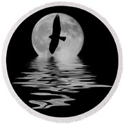 Round Beach Towel featuring the photograph Hawk In The Moonlight 2 by Shane Bechler