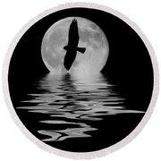 Hawk In The Moonlight 2 Round Beach Towel