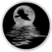 Round Beach Towel featuring the photograph Hawk In The Moonlight by Shane Bechler