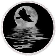 Hawk In The Moonlight Round Beach Towel