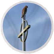 Round Beach Towel featuring the photograph Hawk On Steeple by Richard Rizzo