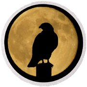 Round Beach Towel featuring the photograph Hawk Silhouette 2 by Shane Bechler