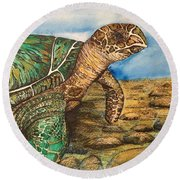 Hawkbilled Sea Turtle Round Beach Towel