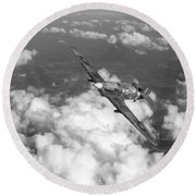 Round Beach Towel featuring the photograph Hawker Hurricane IIb Of 174 Squadron Bw Version by Gary Eason