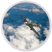 Round Beach Towel featuring the photograph Hawker Hurricane IIb Of 174 Squadron by Gary Eason