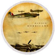 Hawker Hurricane Raf Round Beach Towel by John Wills