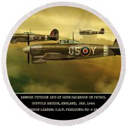 Round Beach Towel featuring the digital art Hawker Typhoon Sqn 56 by John Wills