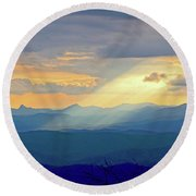 Hawks Bill Mountain Sunset Round Beach Towel