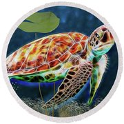 Hawksbill Sea Turtle Round Beach Towel