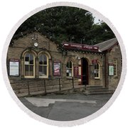 Haworth Railway Station Round Beach Towel