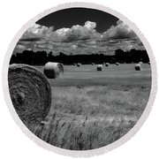 Hay Bales And Clouds Round Beach Towel