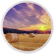 Hay Bales And The Setting Sun Round Beach Towel