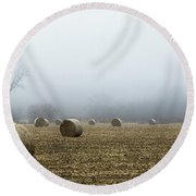 Hay Bales In A Field Round Beach Towel