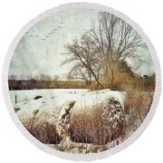Hay Bales In Snow Round Beach Towel