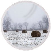 Hay Bales In The Snow Round Beach Towel