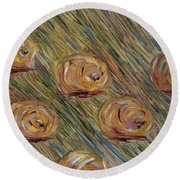 Round Beach Towel featuring the painting Hay Bales by Judith Rhue