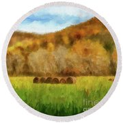 Round Beach Towel featuring the photograph Hay Bales by Lois Bryan