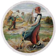 Hay Field Workers Round Beach Towel