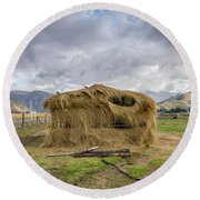 Hay Hut In Andes Round Beach Towel